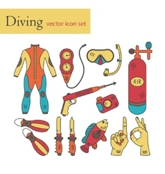 Line icons with diving equipment vector