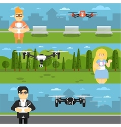 Drone aircraft flyers with flying robots vector