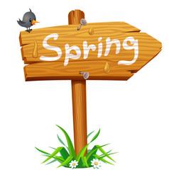 Spring wooden arrow board vector