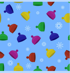 colorful winter knitted hat seamless pattern vector image