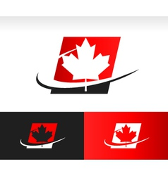 Swoosh canada maple leaf logo icon vector