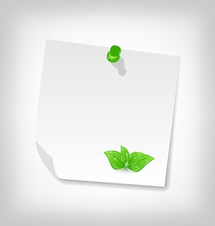 Blank note paper with green leaves isolated on vector
