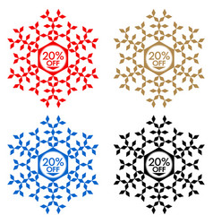20 off discount sticker snowflake 20 off sale vector