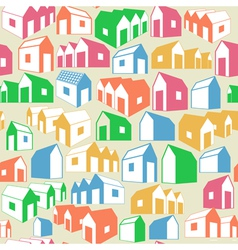 Seamless geometric background with houses vector image