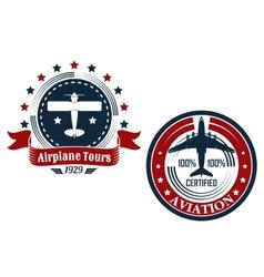 Circular aviation emblems or badges vector image