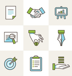 Business icons in outline style vector