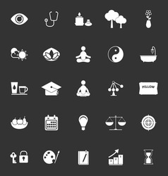 Meditation icons on gray background vector