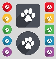 Trace dogs icon sign a set of 12 colored buttons vector