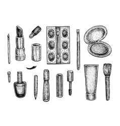 Collection of make up treatment objects vector