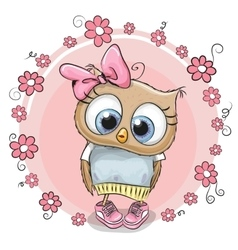 Owl with flowers vector
