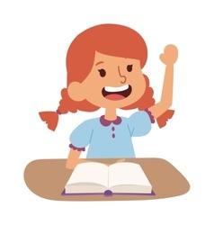 School girl learning vector