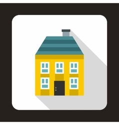 Yellow two storey house icon flat style vector