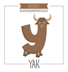 Alphabet letter y and yak vector