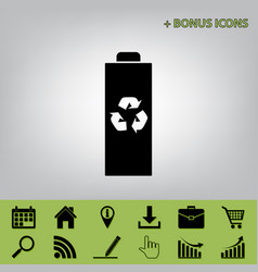 Battery recycle sign black vector