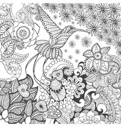 Bird of paradise in fantasy garden vector