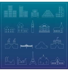 Buildings flat design web icons set vector image vector image