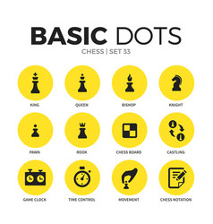 chess flat icons set vector image