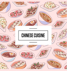 Chinese cuisine poster with asian dishes vector