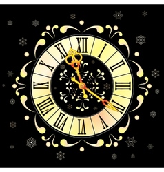 Christmas background with clock and snowflakes vector image