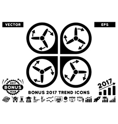 Copter screws rotation flat icon with 2017 bonus vector