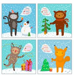Cute cat squirrel bear deer greeting card vector