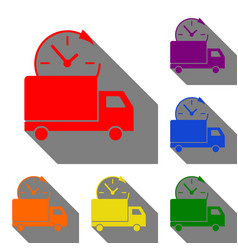 delivery sign set of red orange vector image vector image