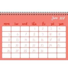 Desk calendar template for month june week starts vector