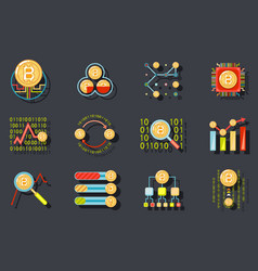 digital money internet currency bitcoin data vector image vector image