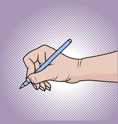 drawing hand with pencil in pop art vector image vector image