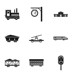 Electrical train icons set simple style vector
