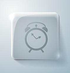 Glass square icon alarm clock vector
