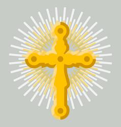 Golden orthodox cross icon isolated vector