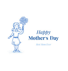 happy mothers day daughter with flowers small vector image vector image