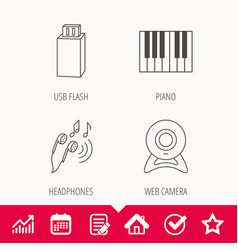 Headphones web camera and usb flash icons vector