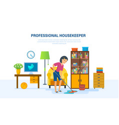 Housekeeper washes the floors with a mop in room vector