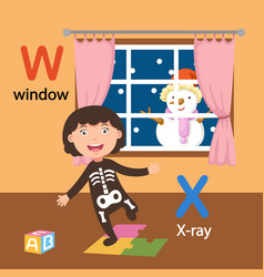 Isolated alphabet letter w-window x-x-ray vector
