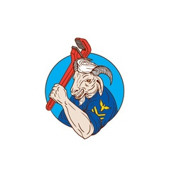 Navy goat holding pipe wrench circle retro vector