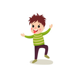 Playful little kid jumping with hands up and vector