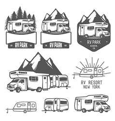 Rv and caravan park badges and design elements vector