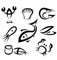 sea food set of icons vector image