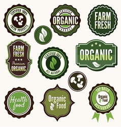 Set of organic and farm fresh food labels vector image