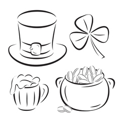 st patrick day symbols silhouettes isolated on whi vector image vector image