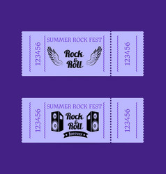 summer rock fest collection of tickets with text vector image vector image