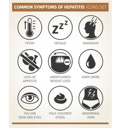 Symptoms of hepatitis icon set vector