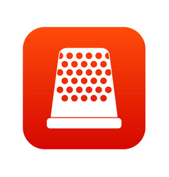 Thimble icon digital red vector