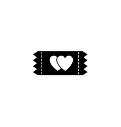 Ticket for sweethearts solid icon vector