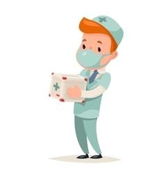 Transplant surgeon hold portable organ vector