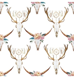 Watercolor pattern with deer head vector image vector image