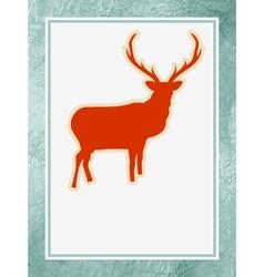 Christmas silhouette reindeer vector image
