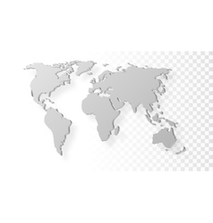 Blank Grey Abstract World Map With Shadow Template vector image